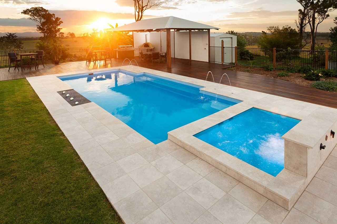 Broome Spa and Hayman Pool in Coral Blue Shimmer Finish